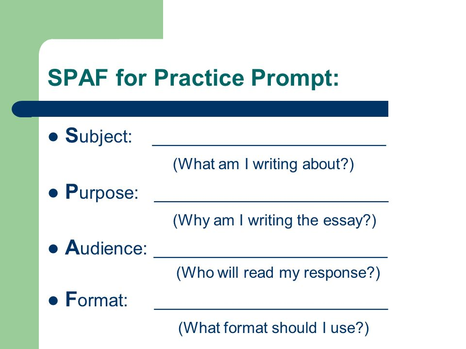 attacking the writing prompt ppt 4 spaf