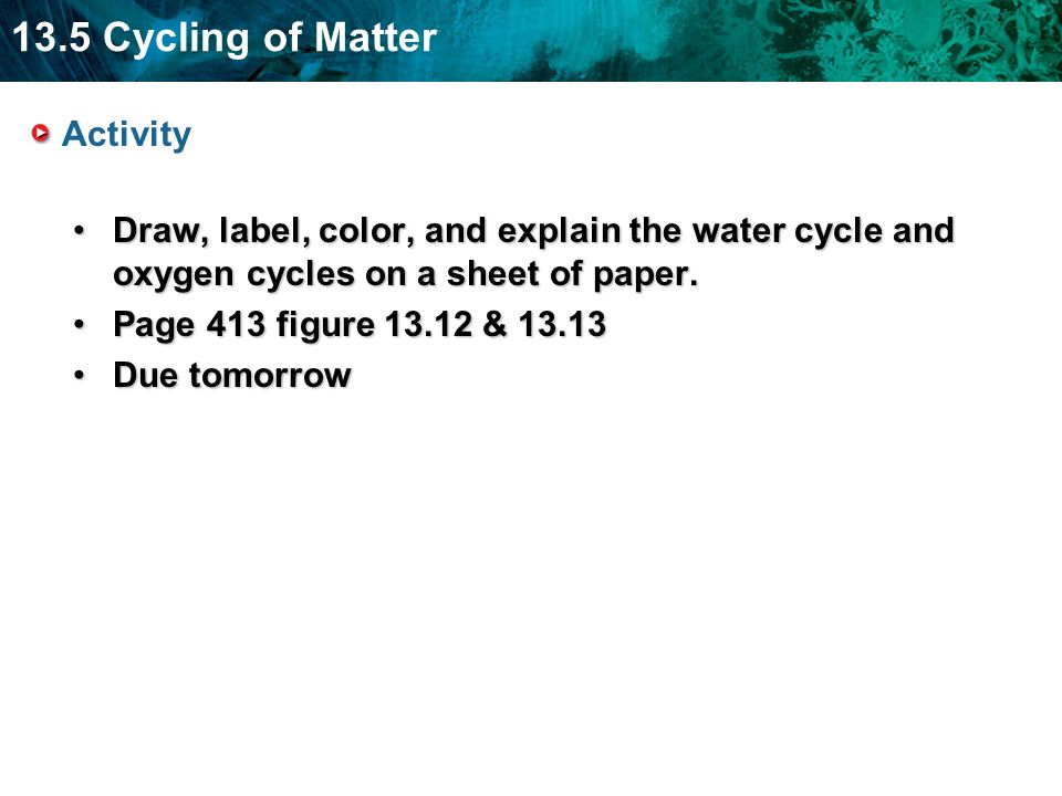 ActivityDraw, label, color, and explain the water cycle and oxygen cycles on a sheet of paper. Page 413 figure 13.12 & 13.13.