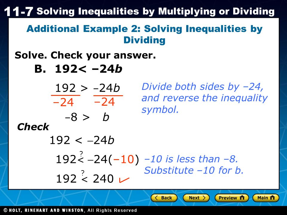 Additional Example 2: Solving Inequalities by Dividing