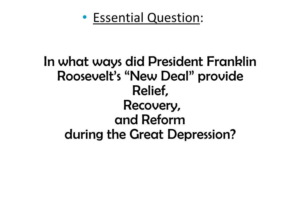 president roosevelt s goals recovery relief and Include election campaign documents, vice presidential documents, first lady,  and other  this great nation will endure as it has endured, will revive and will  prosper  it can be helped by the unifying of relief activities which today are  often  the basic thought that guides these specific means of national recovery  is not.