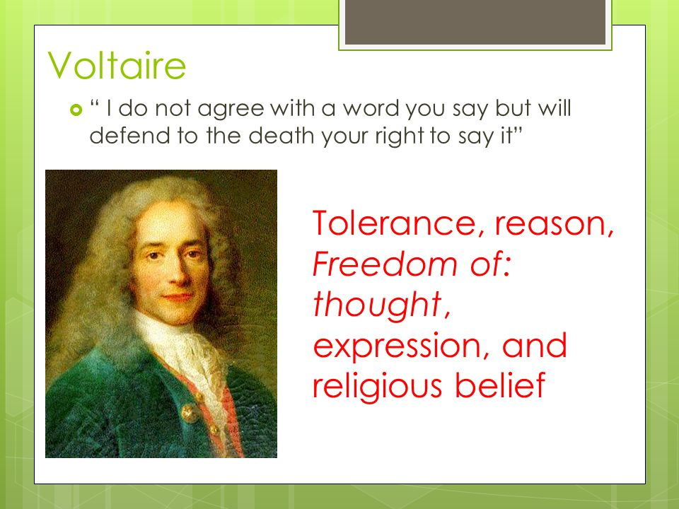 Voltaire Tolerance, reason,