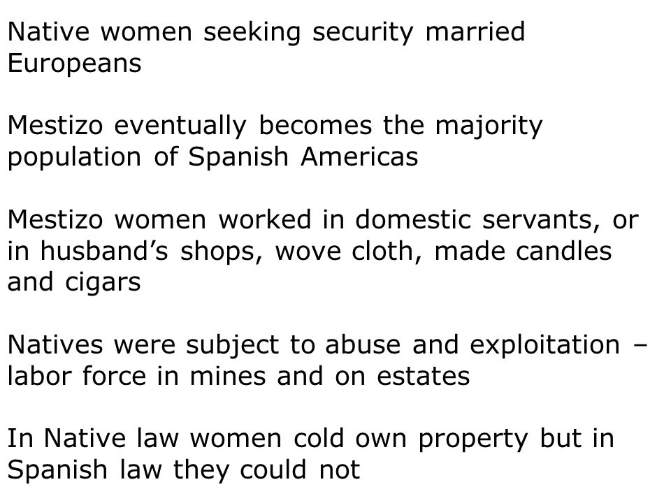 Native women seeking security married Europeans