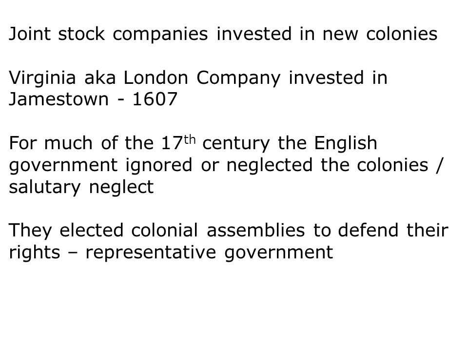 Joint stock companies invested in new colonies