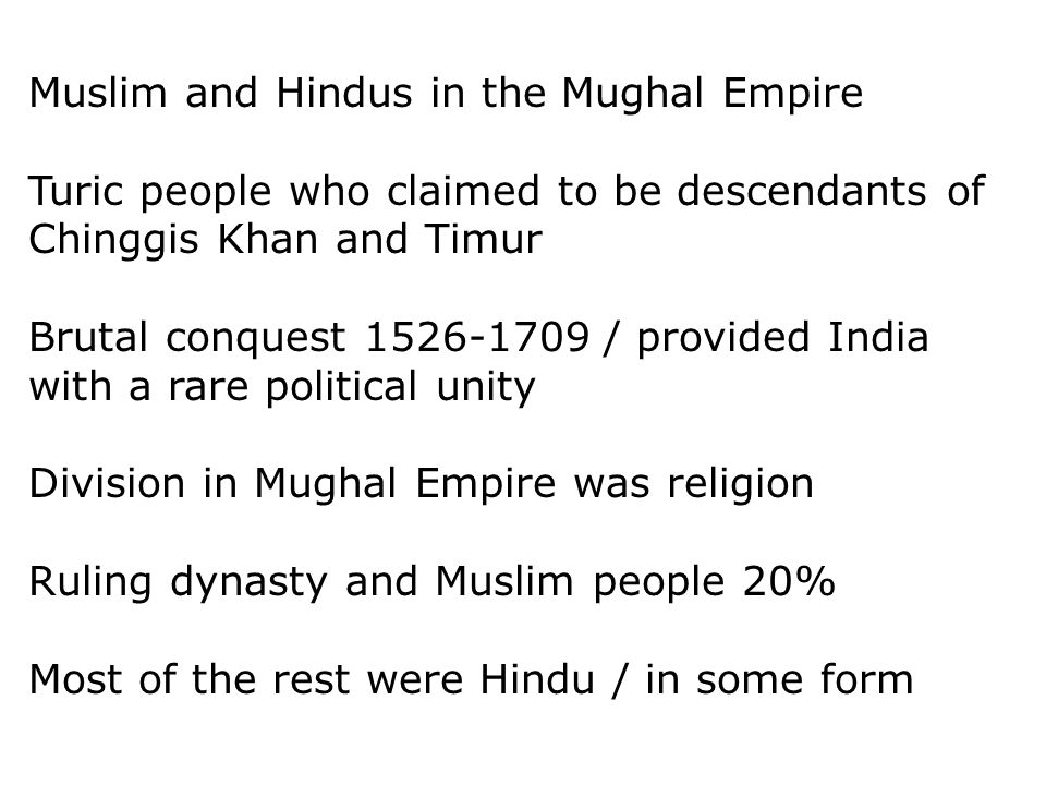 Muslim and Hindus in the Mughal Empire