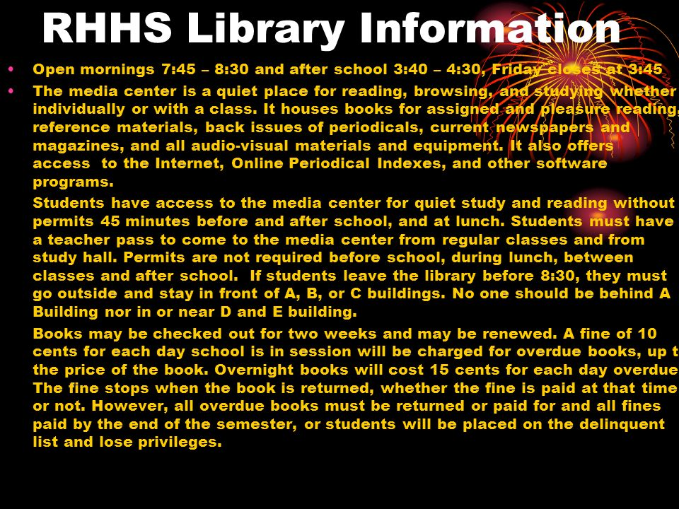 RHHS Library Information