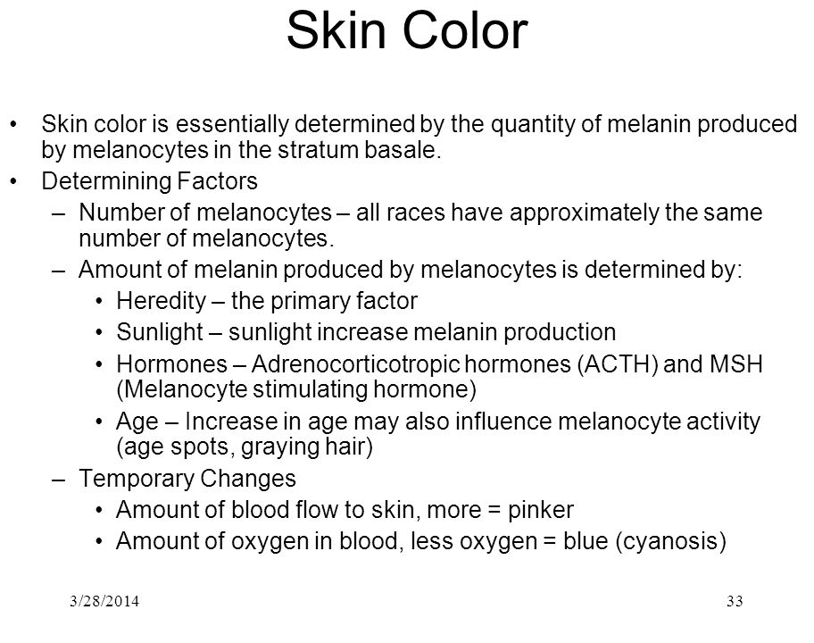 Skin Color Skin color is essentially determined by the quantity of melanin produced by melanocytes in the stratum basale.