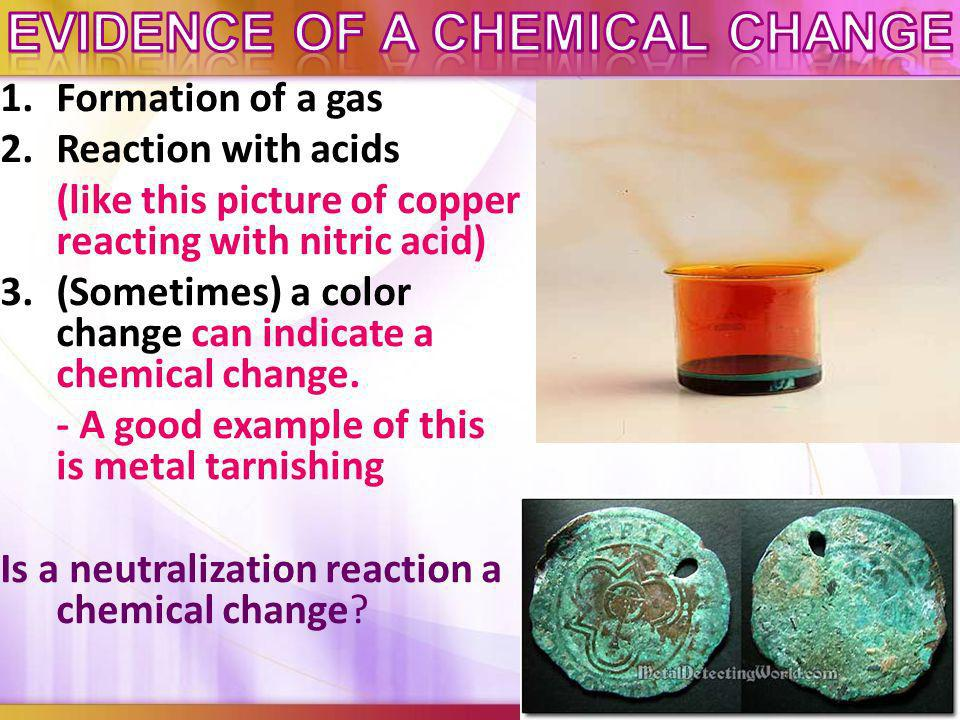 Evidence of a chemical change