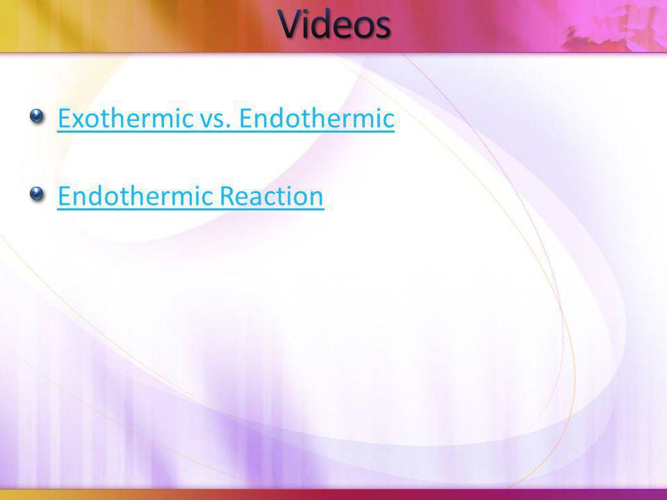 Videos Exothermic vs. Endothermic Endothermic Reaction