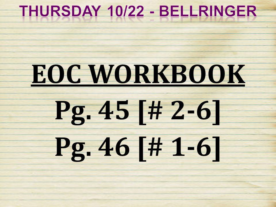 Thursday 10/22 - Bellringer