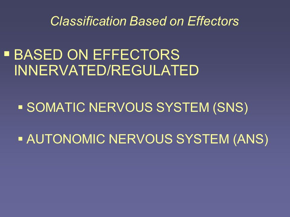 Classification Based on Effectors