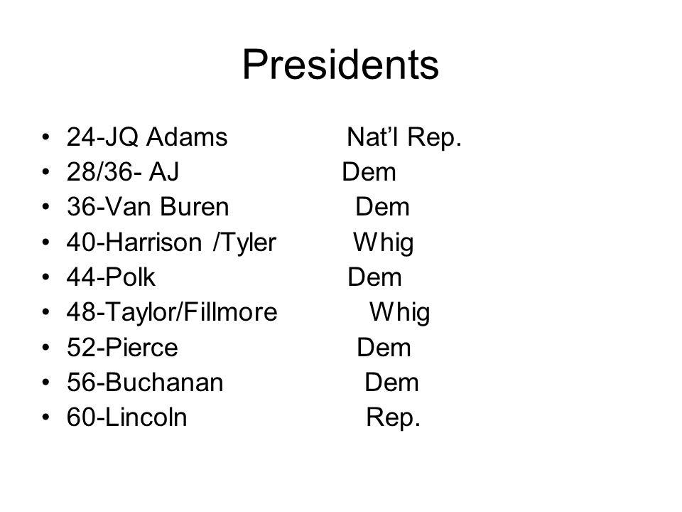 Presidents 24-JQ Adams Nat'l Rep. 28/36- AJ Dem 36-Van Buren Dem