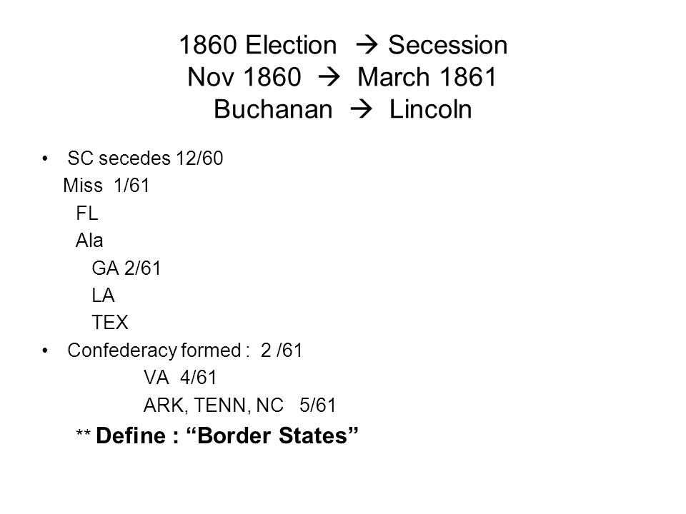 1860 Election  Secession Nov 1860  March 1861 Buchanan  Lincoln