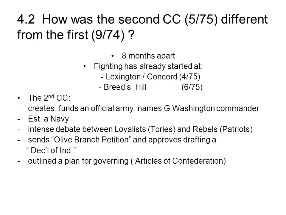 4.2 How was the second CC (5/75) different from the first (9/74)