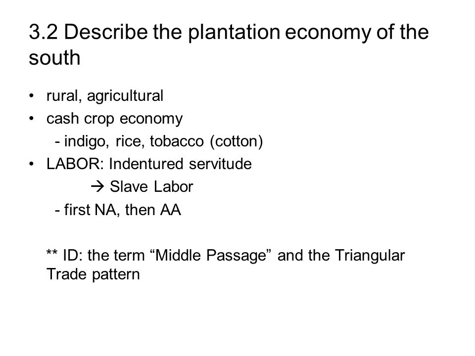 3.2 Describe the plantation economy of the south
