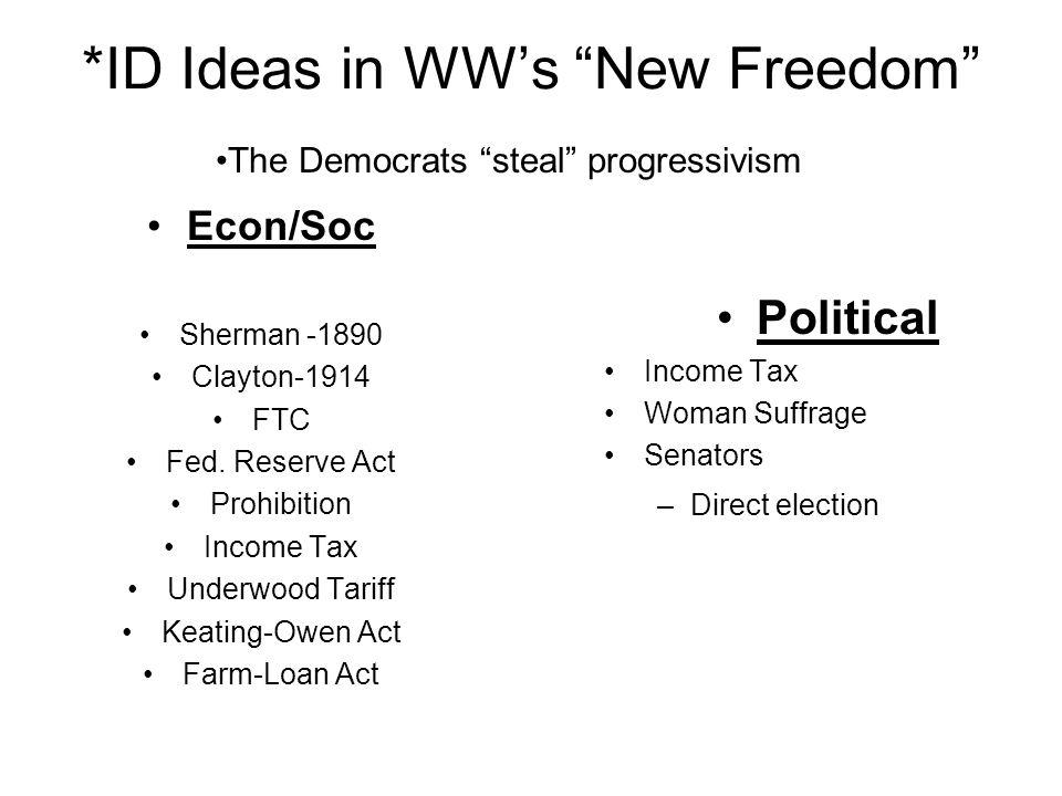 *ID Ideas in WW's New Freedom
