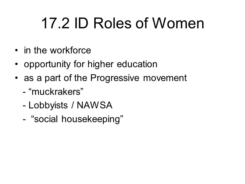 17.2 ID Roles of Women in the workforce