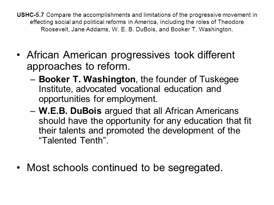 African American progressives took different approaches to reform.