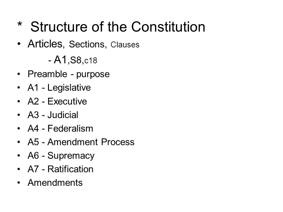 * Structure of the Constitution