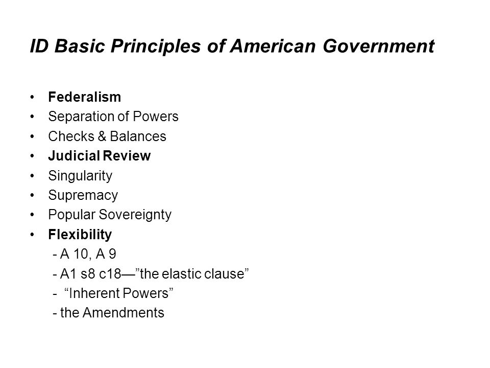 ID Basic Principles of American Government