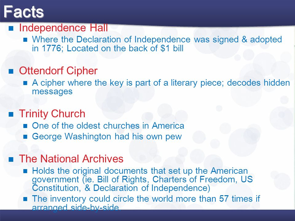 Facts Independence Hall Ottendorf Cipher Trinity Church