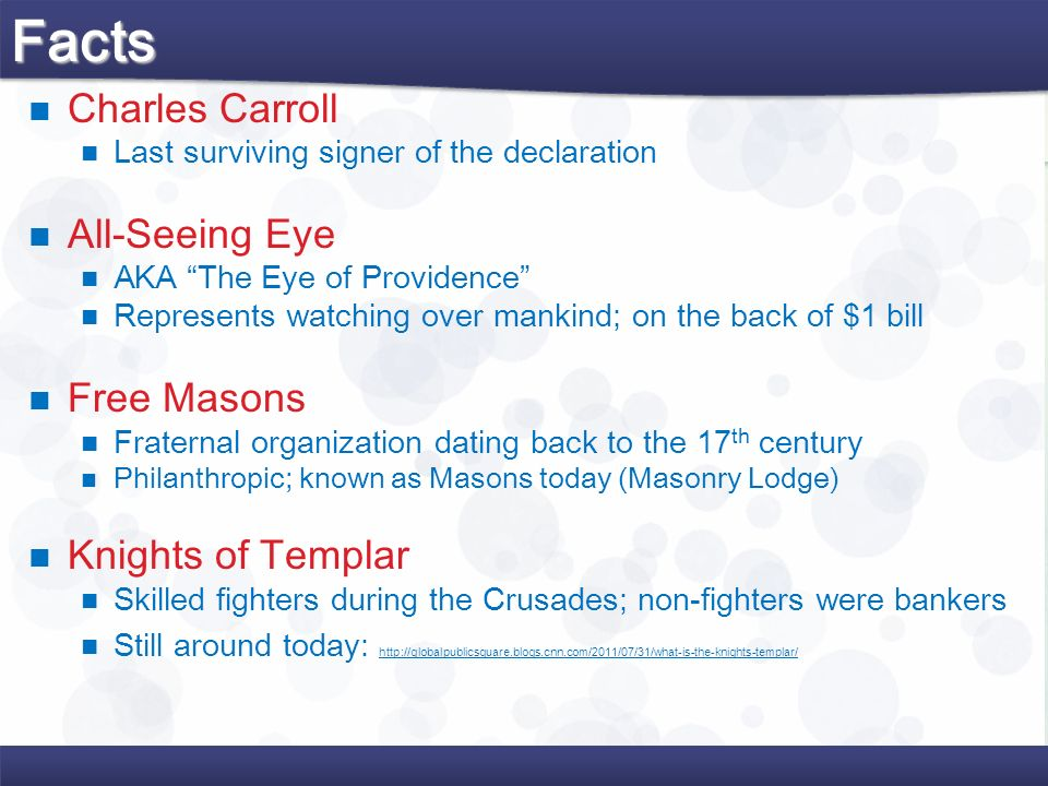 Facts Charles Carroll All-Seeing Eye Free Masons Knights of Templar