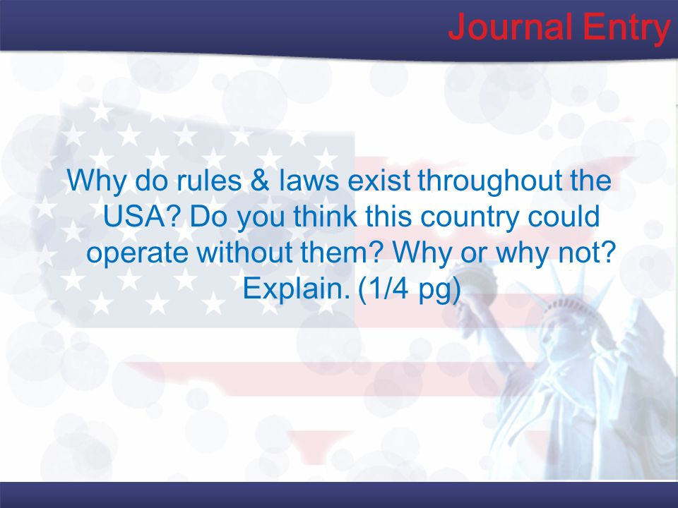 Journal Entry Why do rules & laws exist throughout the USA.