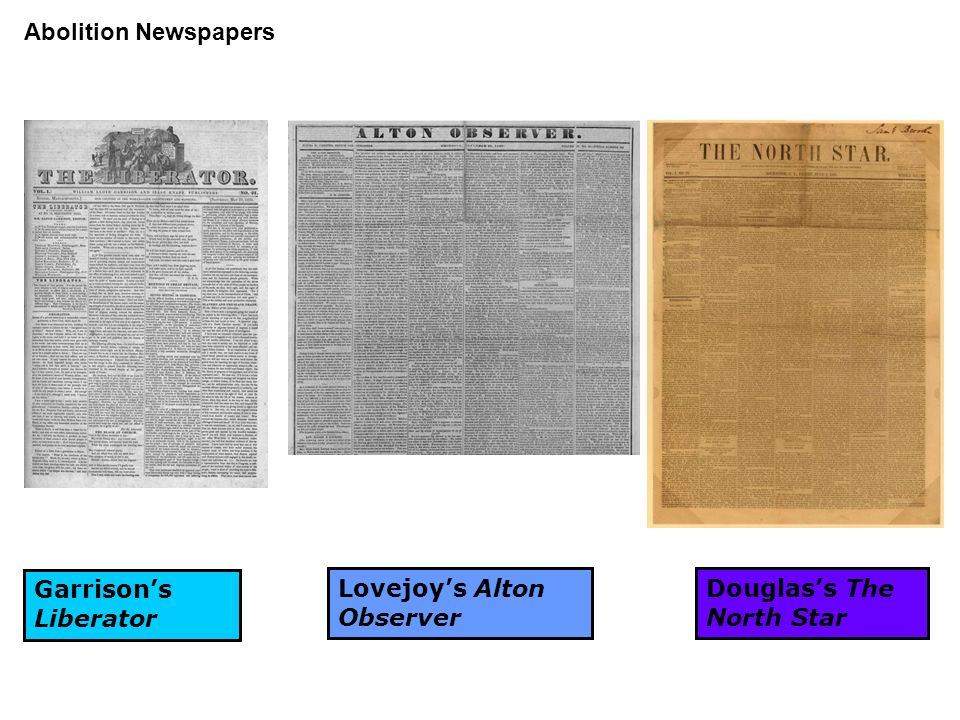 Abolition Newspapers Garrison's Liberator Lovejoy's Alton Observer Douglas's The North Star
