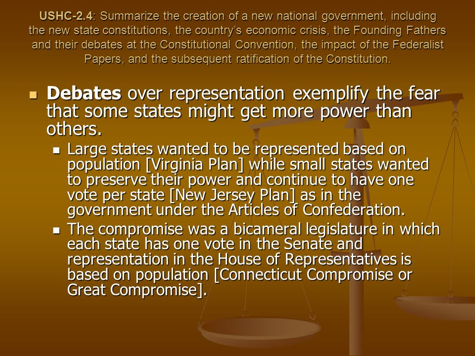 USHC-2.4: Summarize the creation of a new national government, including the new state constitutions, the country's economic crisis, the Founding Fathers and their debates at the Constitutional Convention, the impact of the Federalist Papers, and the subsequent ratification of the Constitution.