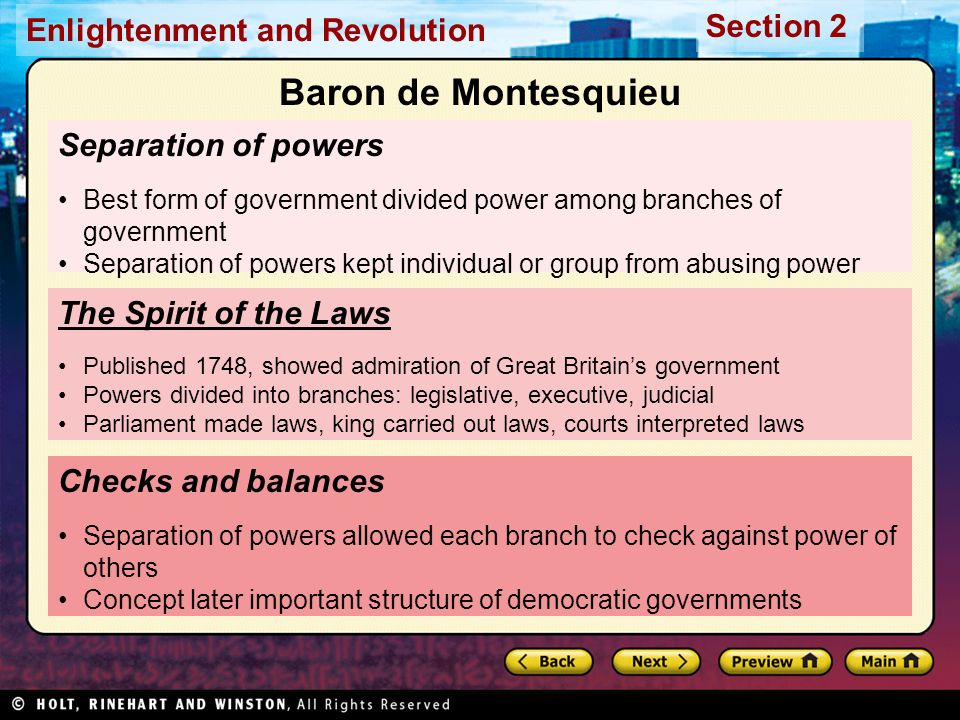 Baron de Montesquieu Separation of powers The Spirit of the Laws