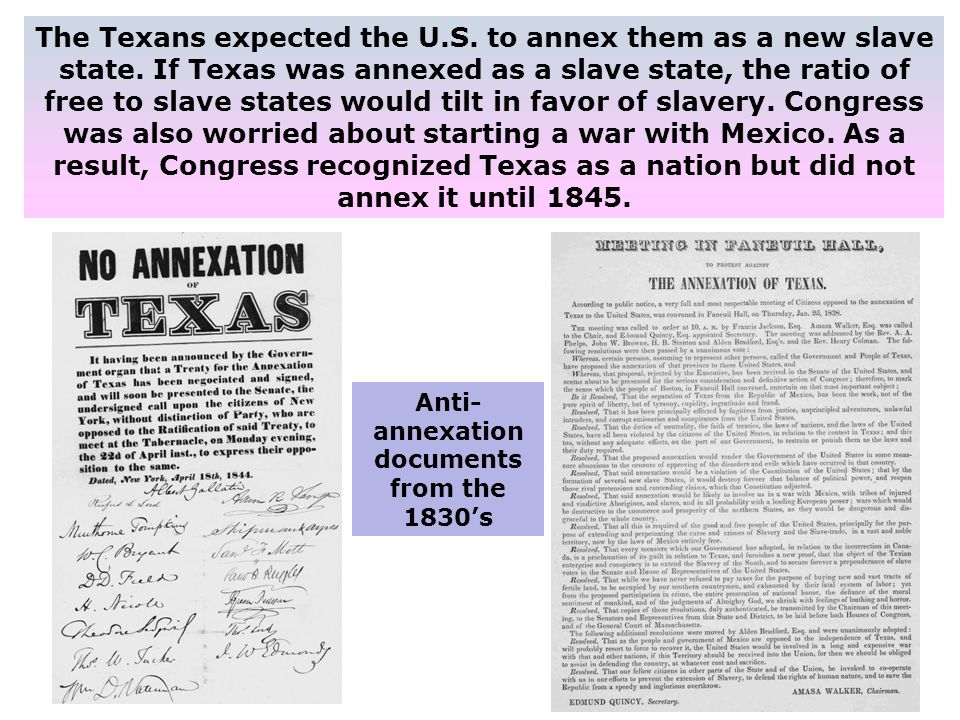 Anti-annexation documents from the 1830's