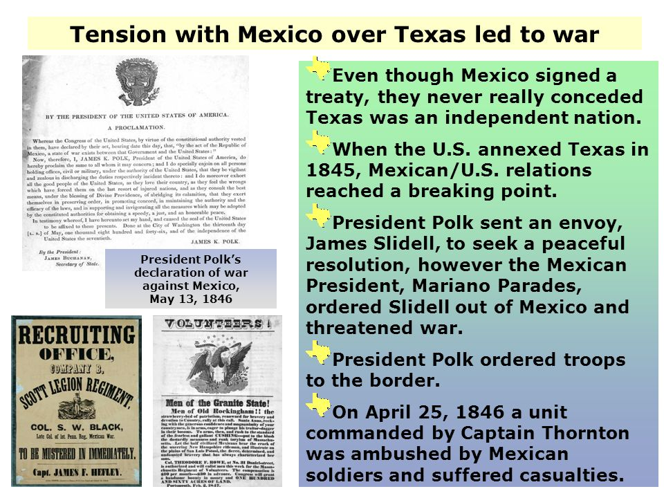 Tension with Mexico over Texas led to war