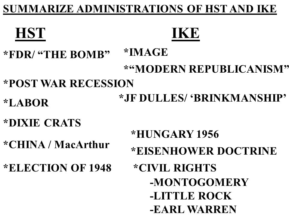 HST IKE SUMMARIZE ADMINISTRATIONS OF HST AND IKE *IMAGE