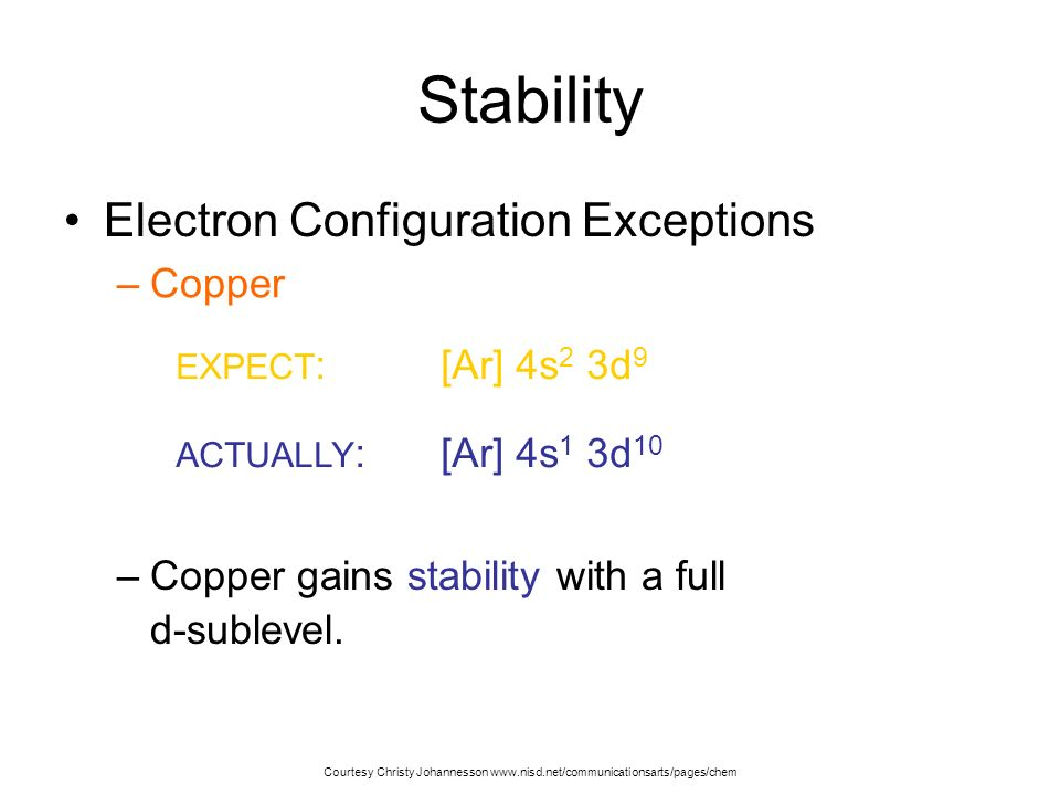 Stability Electron Configuration Exceptions Copper