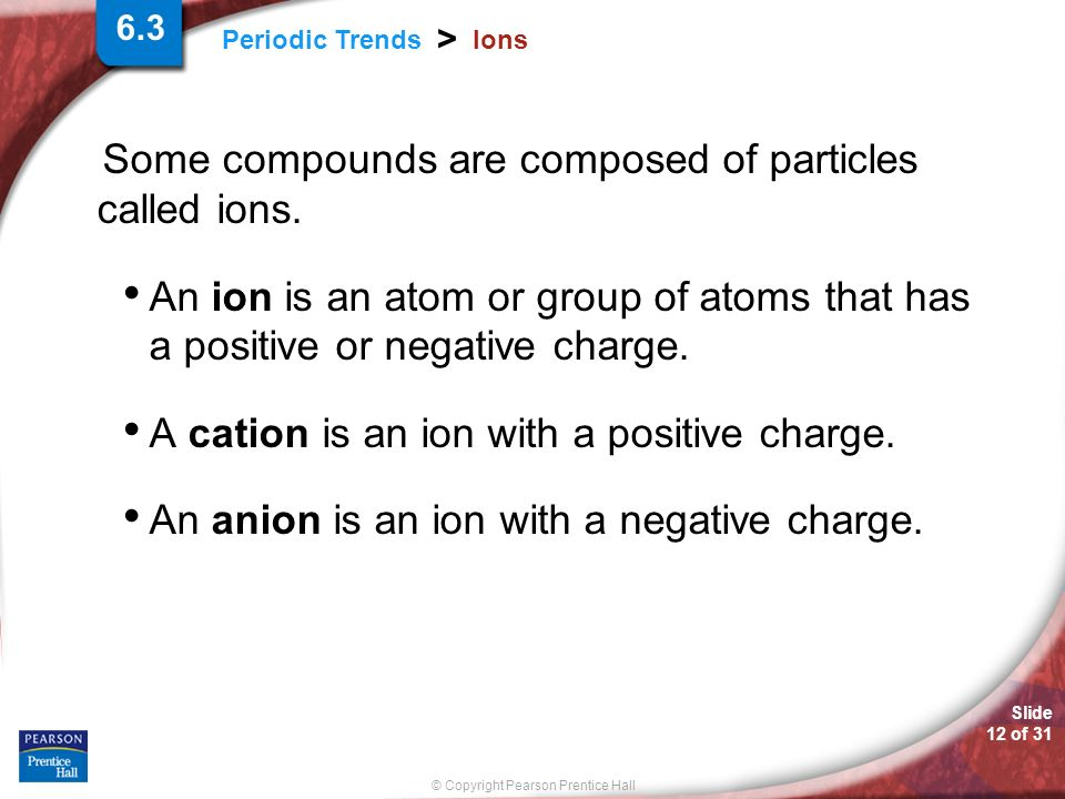 Some compounds are composed of particles called ions.