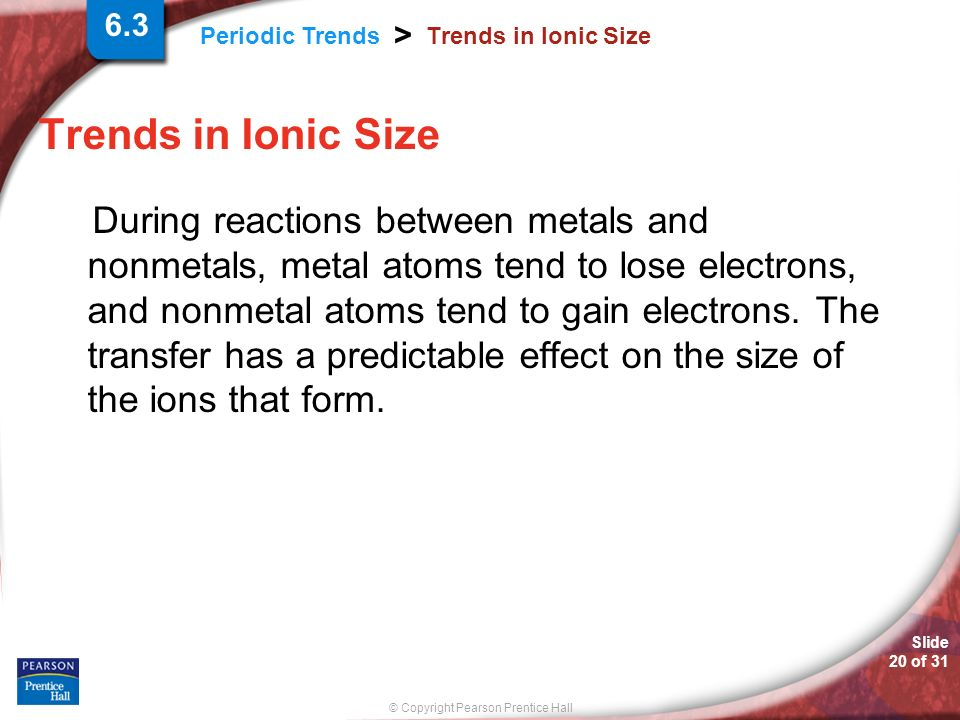 6.3 Trends in Ionic Size. Trends in Ionic Size.