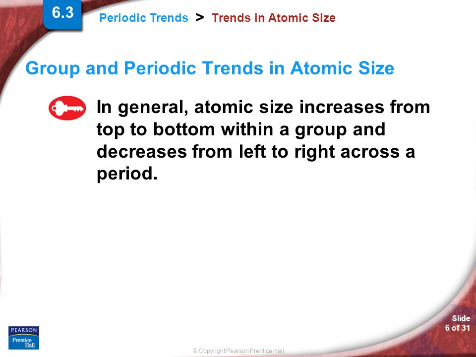Group and Periodic Trends in Atomic Size