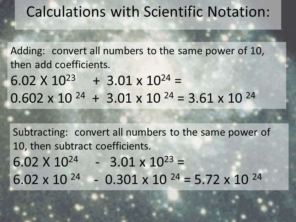 Calculations with Scientific Notation: