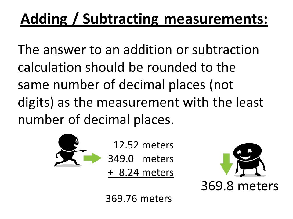 Adding / Subtracting measurements: