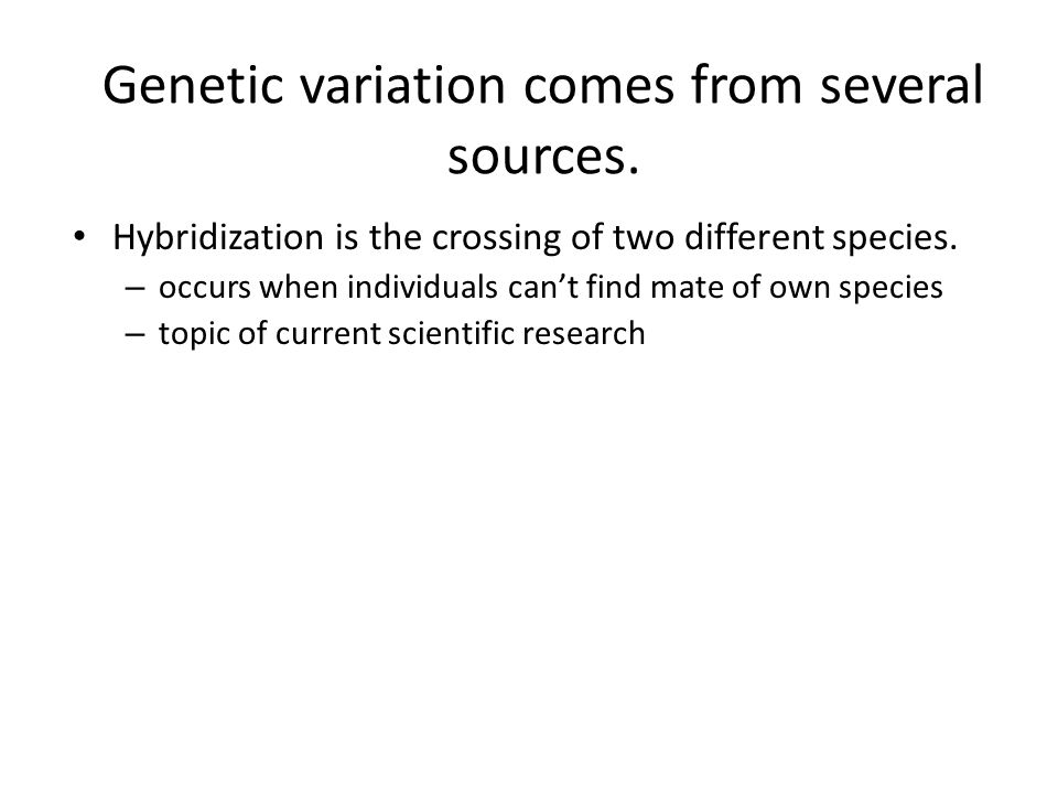 Genetic variation comes from several sources.