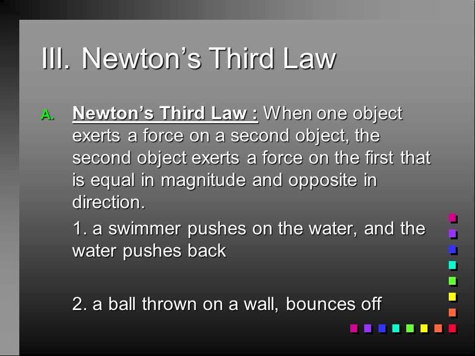 III. Newton's Third Law