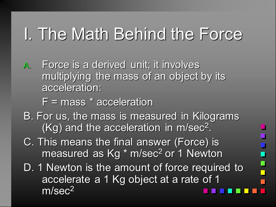 I. The Math Behind the Force