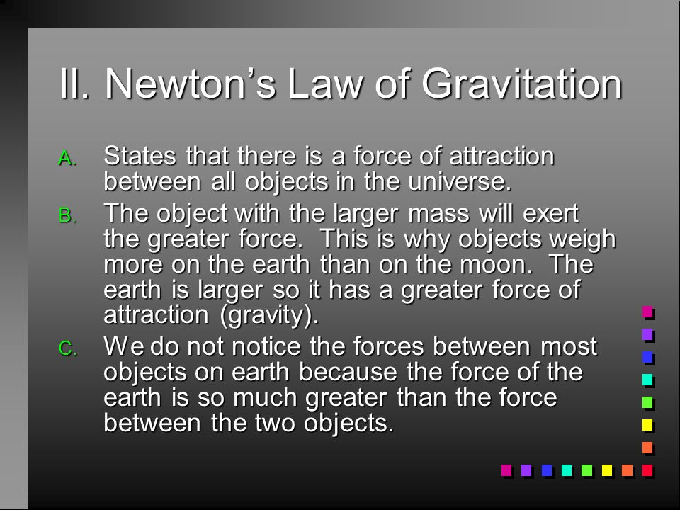 II. Newton's Law of Gravitation