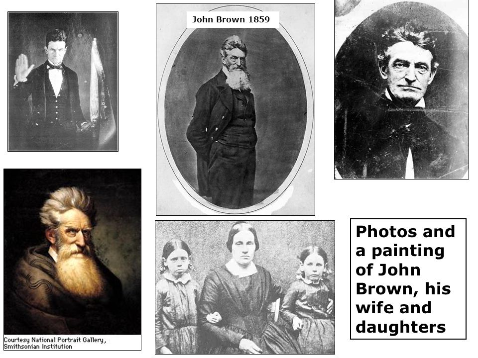 Photos and a painting of John Brown, his wife and daughters