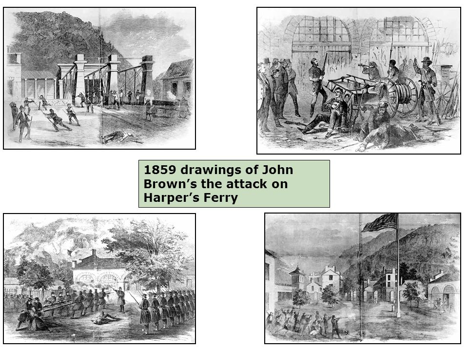 1859 drawings of John Brown's the attack on Harper's Ferry