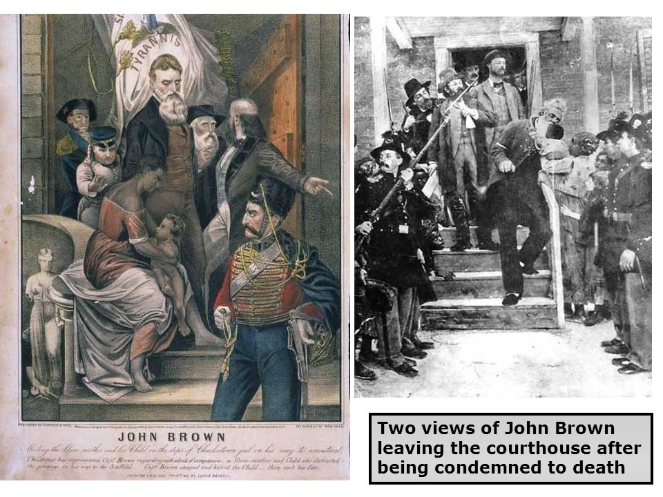 Two views of John Brown leaving the courthouse after being condemned to death