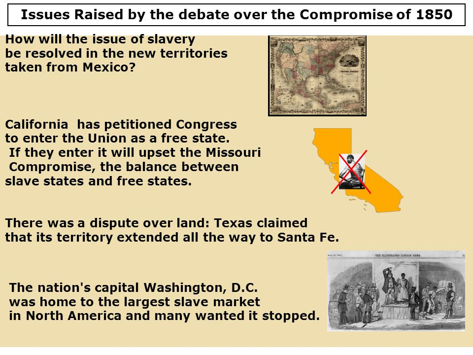 Issues Raised by the debate over the Compromise of 1850