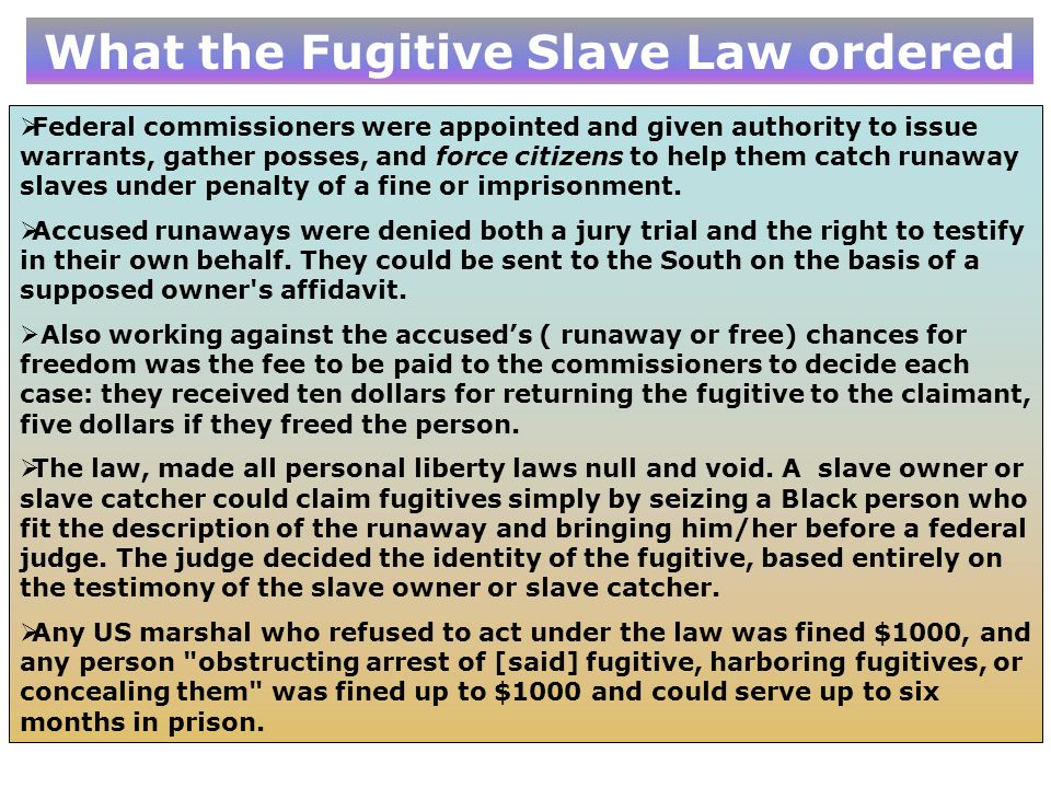 What the Fugitive Slave Law ordered