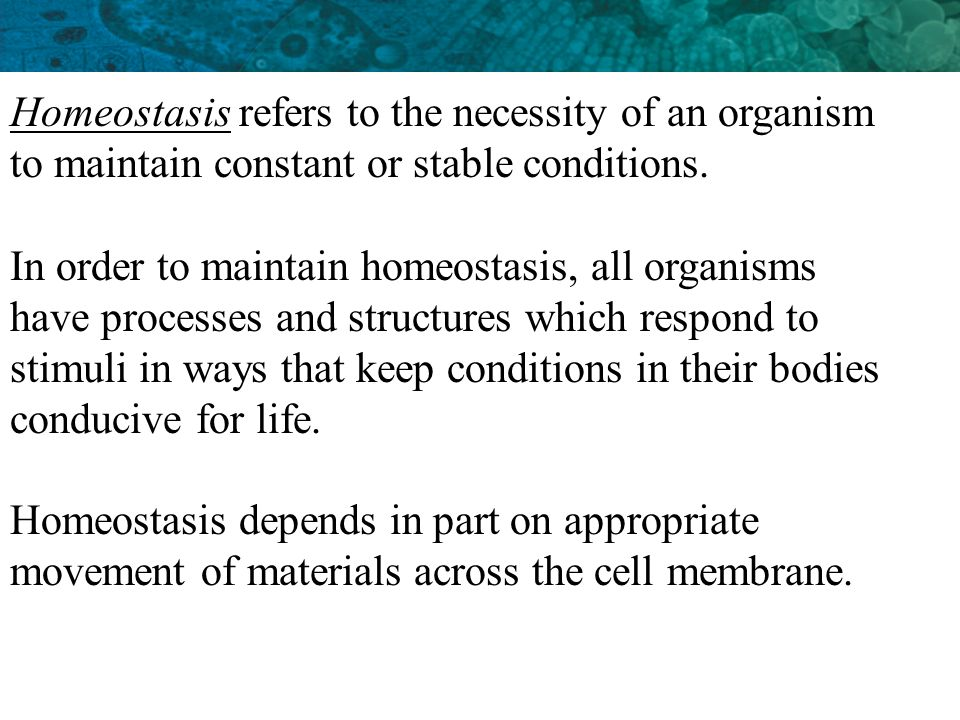 Homeostasis refers to the necessity of an organism to maintain constant or stable conditions.