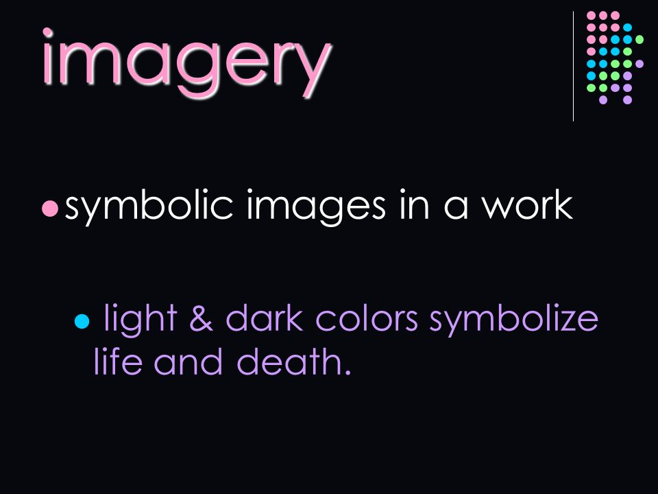 imagery symbolic images in a work