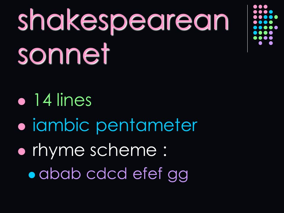 shakespearean sonnet 14 lines iambic pentameter rhyme scheme :